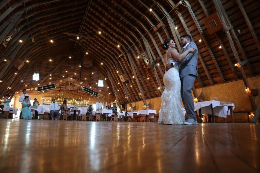 bride and groom at Larson's Barn, McGregor, MN