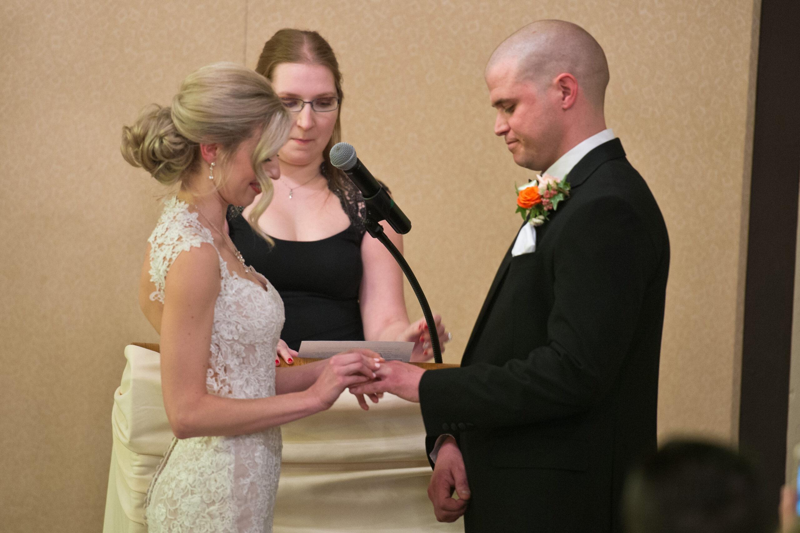bride and groom at Greysolon Ballroom, Moorish Room