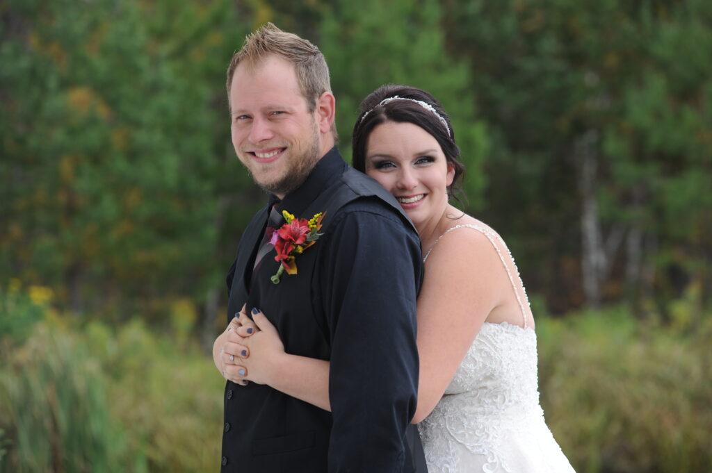 bride and groom at AAD Shrine in Hermantown, MN